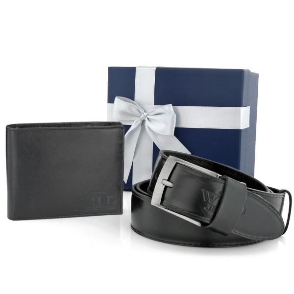 portfel męski z paskiem skórzanym w pudełku na prezent