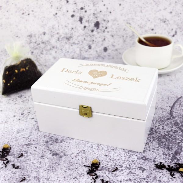 pojemnik na herbatę z grawerem na prezent dla pary
